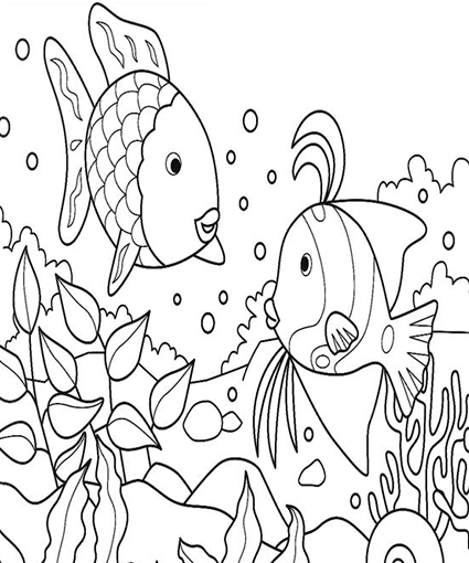 Free coloring pages of rainbow fish activities