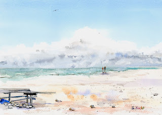 "水彩スケッチ「はての浜」 Watercolor sketch ""Hate-no-hama"" beach"
