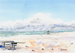 水彩画「はての浜」スケッチ