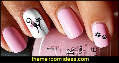 I Love My Cat Kitten Paw Prints Water Slide Nail Art Decals