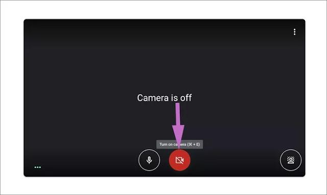 مشكلة فشل كاميرا في Google Meet