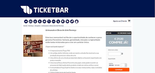 Ticketbar para ingressos para apreciar o artesanato e obras de arte em Florença