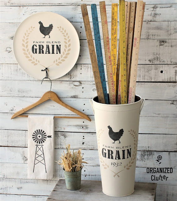 Upcycled Farmhouse Style Decor with Stencils.
