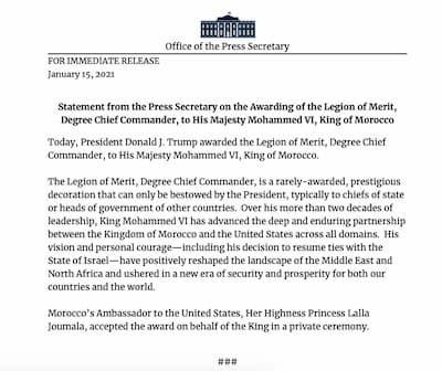 ترامب يمنح جلالة الملك محمد السادس وسام الإستحقاق الأمريكي أرفع أوسمة الشخصيات الأجنبية