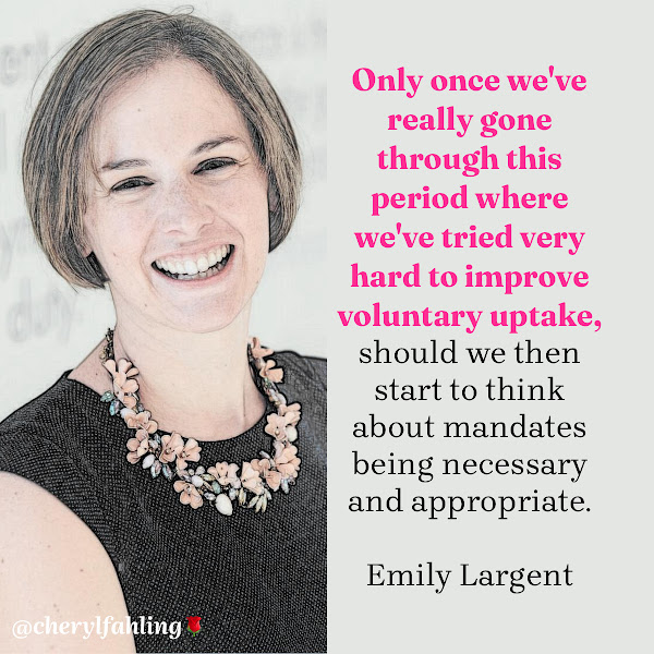 Only once we've really gone through this period where we've tried very hard to improve voluntary uptake, should we then start to think about mandates being necessary and appropriate. — Emily Largent, lawyer and assistant professor of medical ethics
