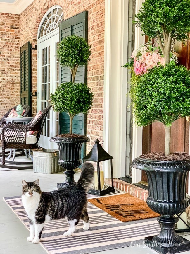 OUR SOUTHERN HOME | FAUX TOPIARIES FOR THE FRONT PORCH