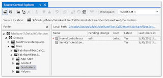 Preview of the Visual Studio's Source Control Explorer Graphical User Interface