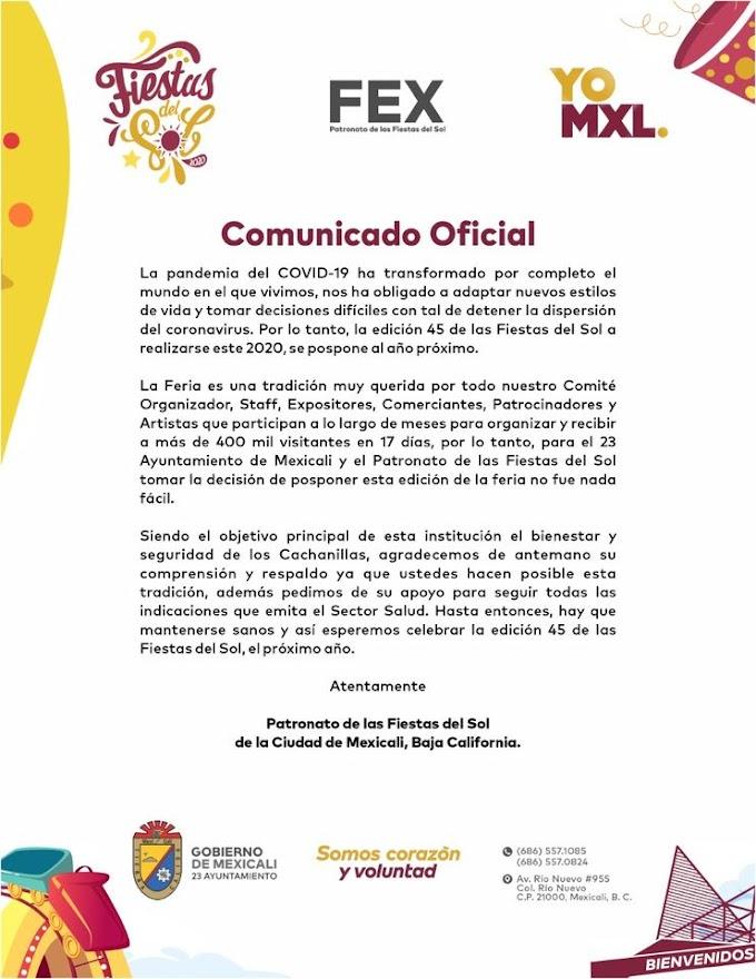No habrá Fiestas del Sol Mexicali 2020