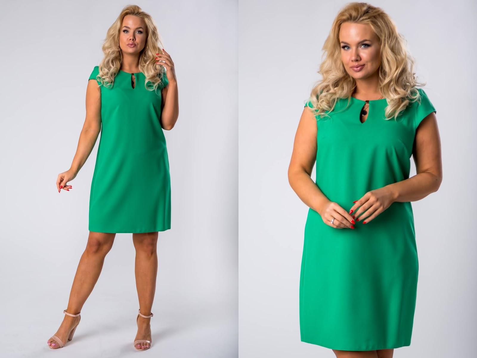Ołówkowa sukienka z ozdobnym ekspresem na plecach oraz rozcięciem na dekolcie ptakmoda.com