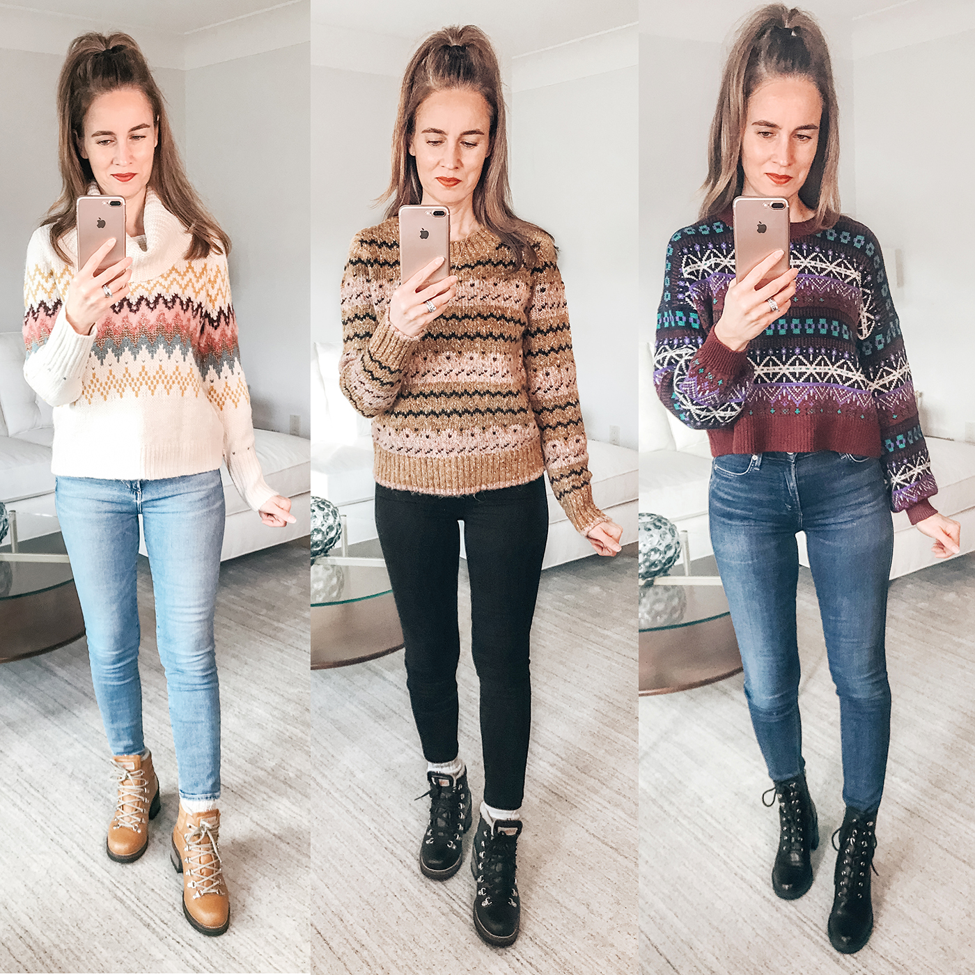 Cozy fairisle winter sweaters, hiking boots, jeans