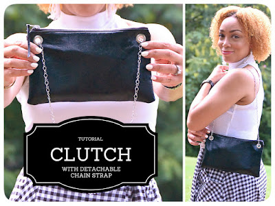 Clutch with Detachable Chain Strap Tutorial - Erica Bunker DIYStyle