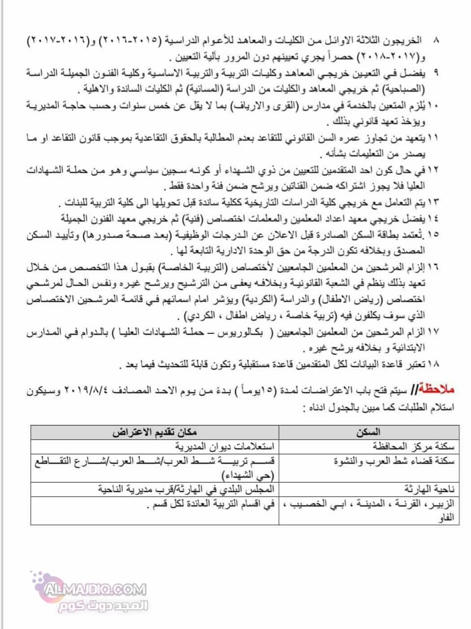 اسماء المقبولين في تعيينات تربية البصرة 2019