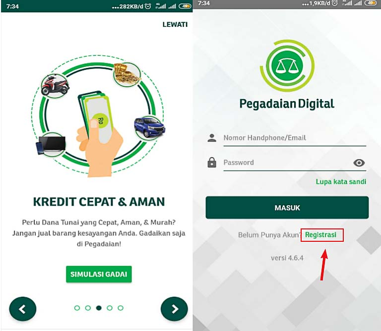 Registrasi Akun pegadaian digital