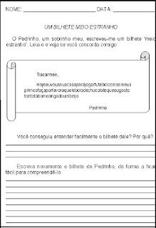 Produção de texto -bilhete