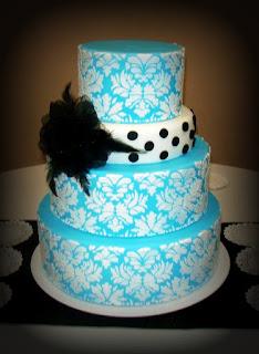 Wedding Cakes Pictures Turquoise Damask Wedding Cakes