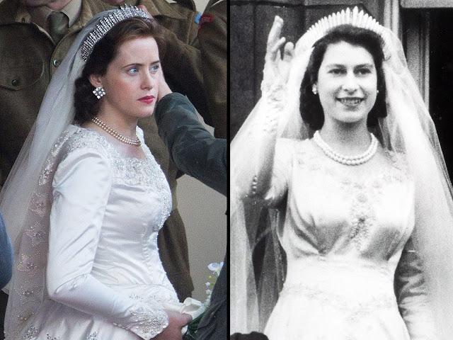 Comparación entre los vestidos de novia de Isabel II y su réplica en The Crow.