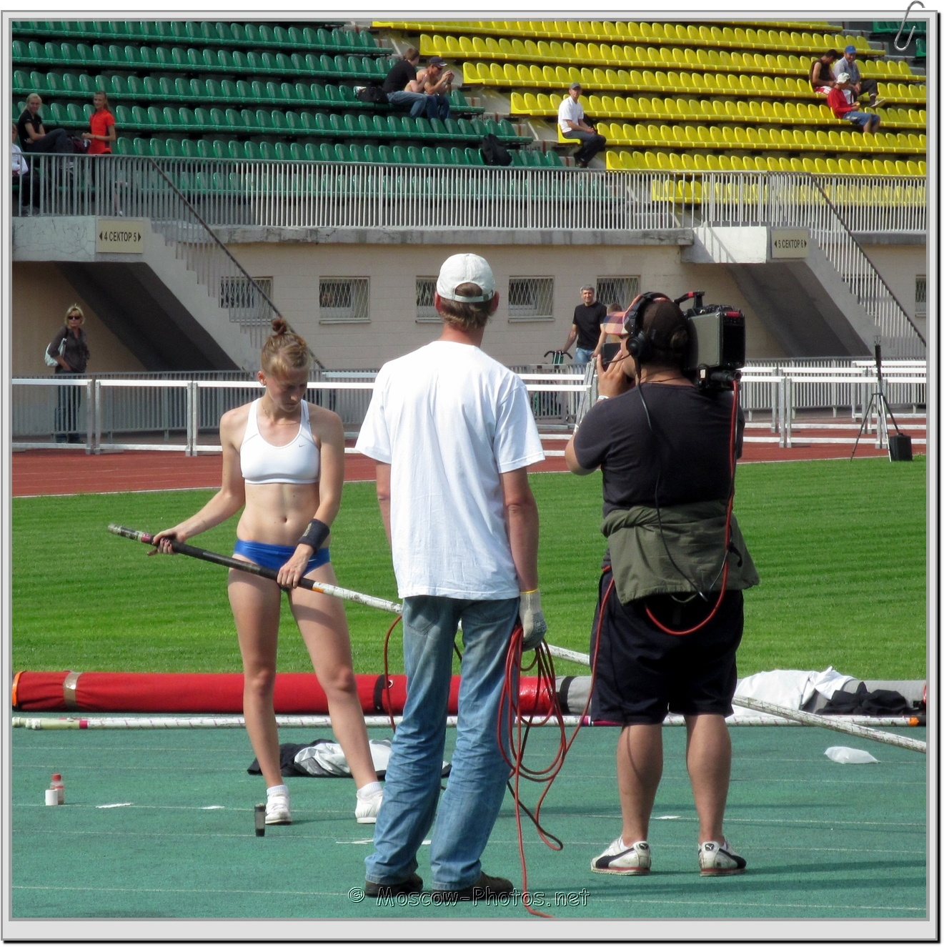 Pole vaulter poses for the camera at Moscow Athletics Open 2011