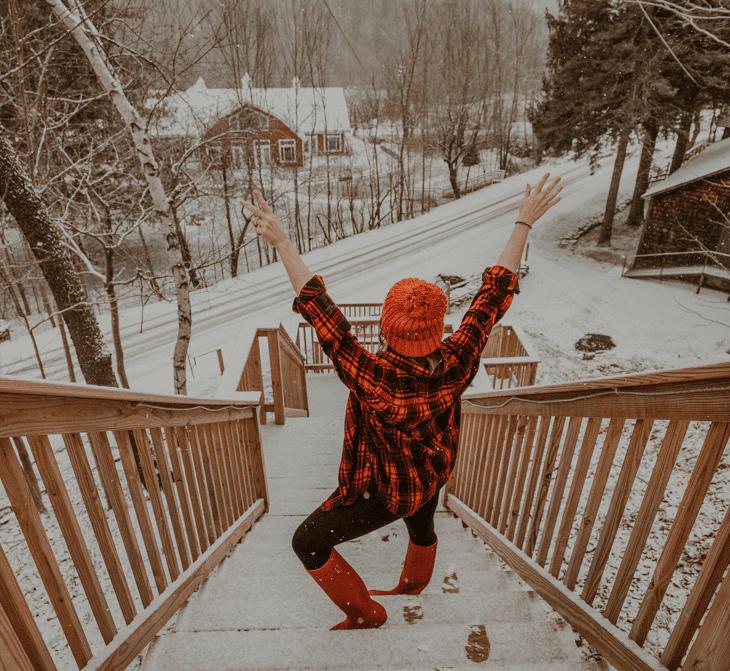 Enjoying the Catskills in NY in the snow