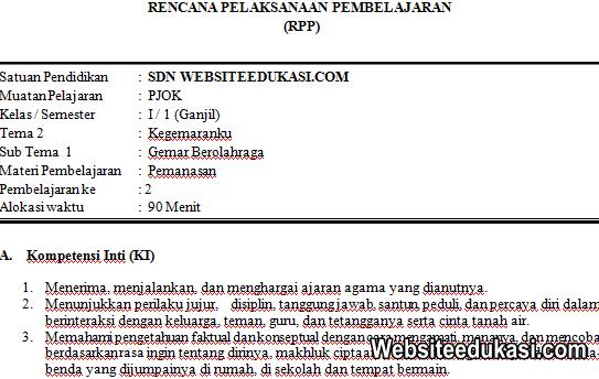 RPP PJOK Kelas 1 Tema 2 Kurikulum 2013 Revisi 2019