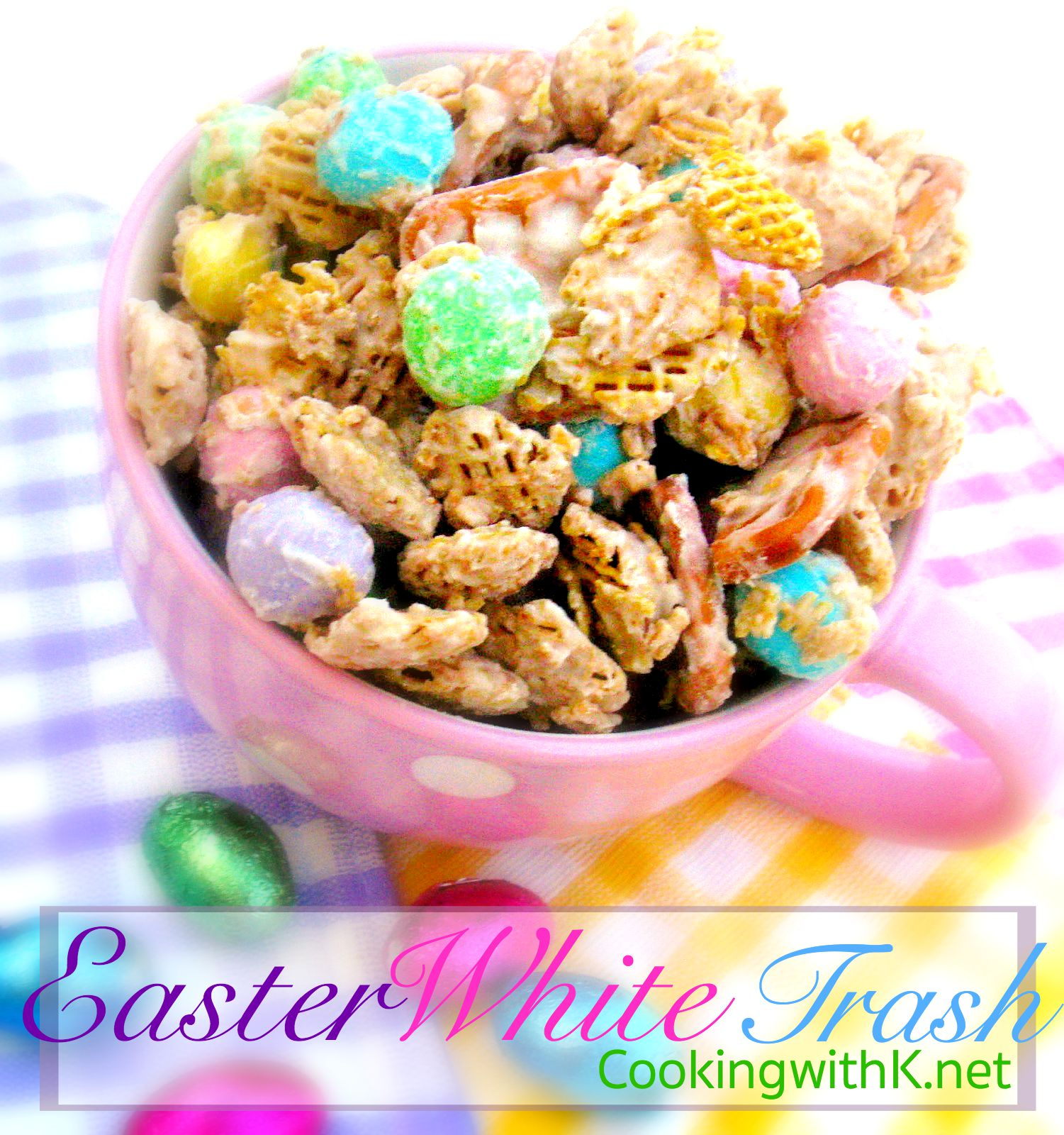 Cooking with k easter white trash and cute gift bags the basic recipe for the trash is the same each time i just change the color of the mms for what holiday we are celebrating for easter i use the cute negle Gallery