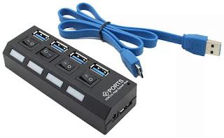 電源スイッチ付き格安4ポートUSB3.0ハブ
