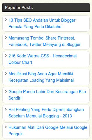Cara Membuat Popular Post Blog Sederhana Tapi Keren