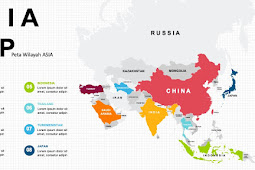 Template ASIA Map slide diagram powerpoint PPT HD