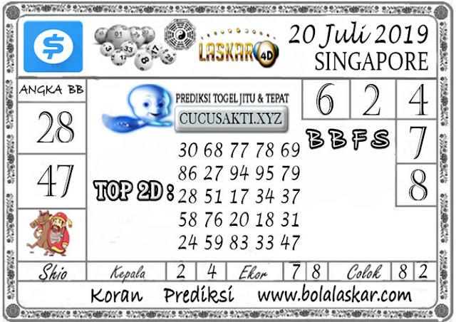 Prediksi Togel SINGAPORE LASKAR4D 20 JULI 2019
