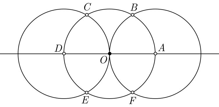 Construção geométrica de um hexágono regular - etapa 4