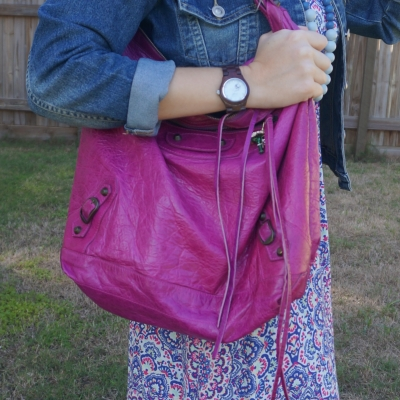 denim jacket with Balenciaga Day bag in 2005 magenta worn on shoulder | away from the blue