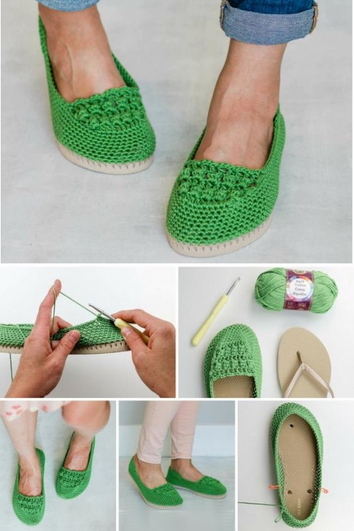 Crochet Summer Shoes on Flip Flop Soles - Free Pattern & Tutorial