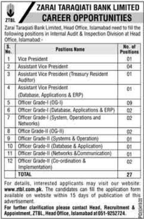 Zarai Tarakiati Bank Limited ZTBL Islamabad Jobs 2021 for Officers Grade-I & Grade-II, 27 Posts