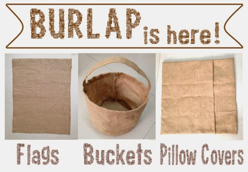 Blank Burlap Jute Flags Bags Buckets Pillow Covers Cases www.punchplaceplus.com