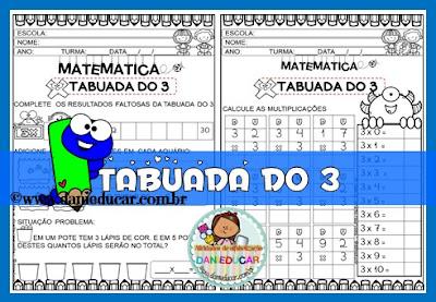 Atividades de Matemática, multiplicação, tabela de Pitágoras, Tabuada, tabuada do 3,
