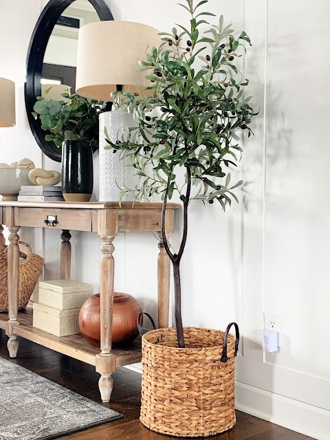 DIY olive tree in basket