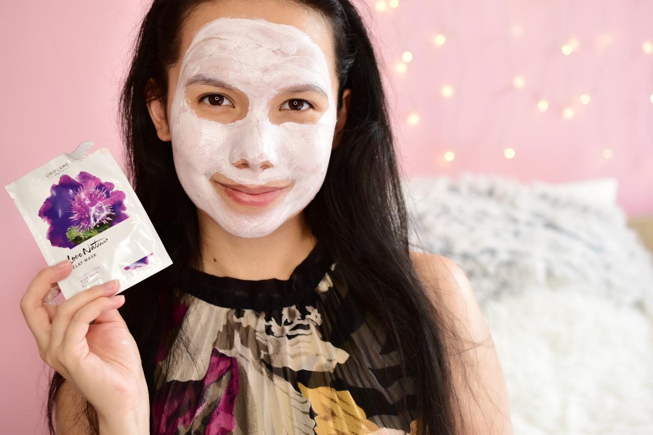 oriflame ílová maska Love Nature s bodliakom swatch