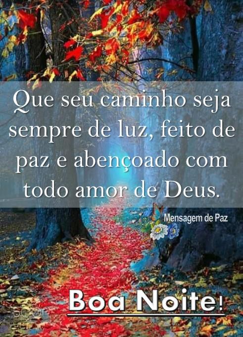 Que seu caminho seja sempre de luz,   feito de paz e abençoado   com todo amor de Deus.  Boa Noite!