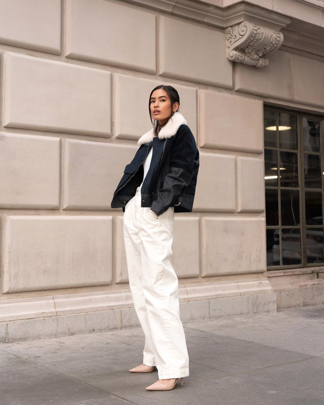 The Chicest Way to Wear White Jeans in the Winter