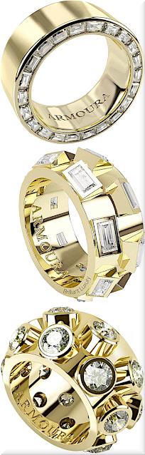 ♦Armoura three different diamond rings in yellow gold #jewelry #armoura #brilliantluxury