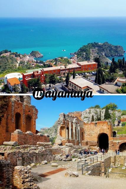 landscape view of Isola Bella island & Greek Theatre ruins, Taormina | Sicily, Italy | wayamaya