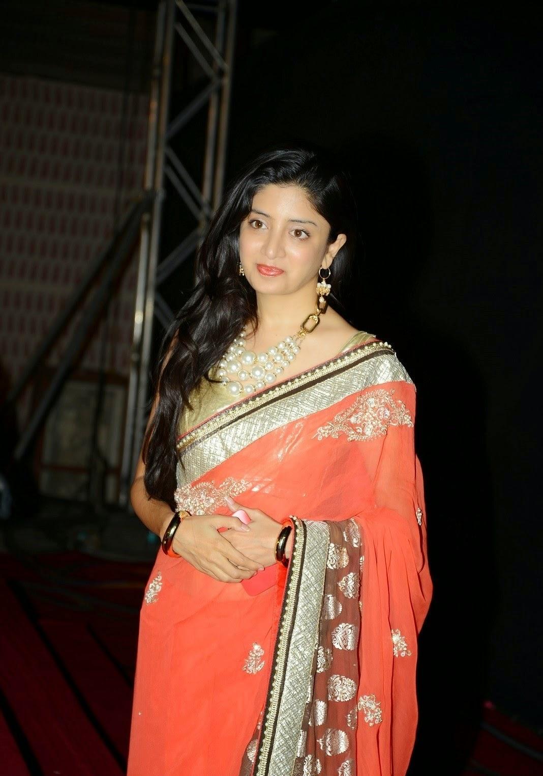 Actress Poonam Kaur Long Hair Stills In Orange Saree