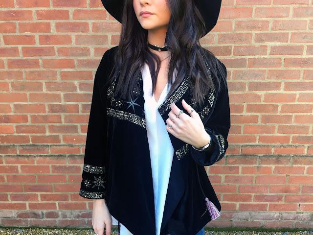 velvet zara jacket blogger outfit