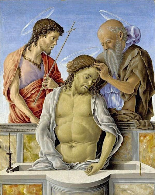 Marco Zoppo (1433-1478) Il Cristo morto sorretto dai santi Huile sur panneau de bois, 25, 4x 21 cm National Gallery, London