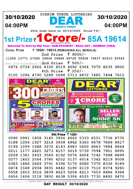 Sikkim State Lottery Result 30-10-2020, Sambad Lottery, Lottery Sambad Result 4 pm, Lottery Sambad Today Result 4 00 pm, Lottery Sambad Old Result