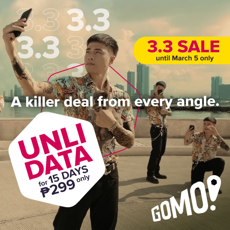 GOMO offers up to 30-day UNLIMITED data on 3.3 sale