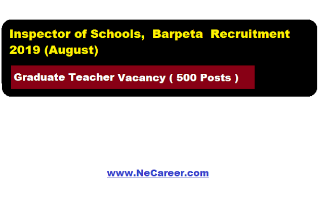 Inspector of Schools, Barpeta Recruitment 2019 (August) | Graduate Teacher Vacancy  [500 Posts]