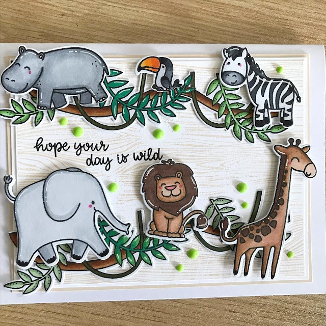 Sunny Studio Stamps: Savanna Safari Tropical Scenes Customer Card by Ahna Kloppenborg