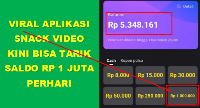 Viral Aplikasi Snack Video Kini Bisa Tarik Saldo Rp 1 juta