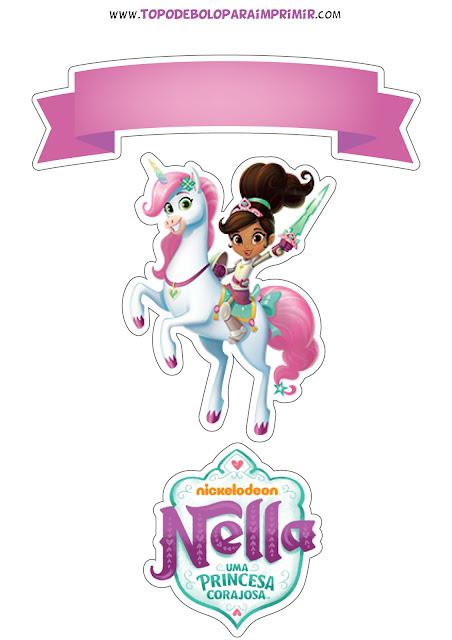 topo de bolo Nella, uma princesa corajosa para imprimir