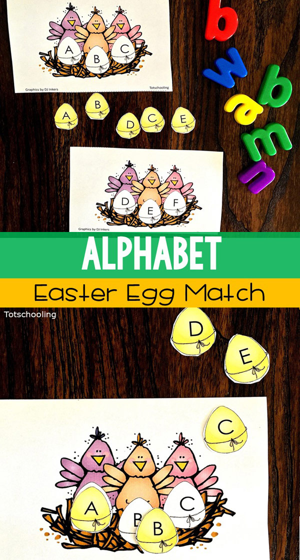 FREE printable letter matching activity perfect for Spring and Easter, featuring chick eggs. Alphabet recognition activity for toddlers and preschoolers.